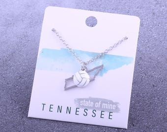 Customizable! State of Mine: Tennessee Volleyball Enamel Necklace - Great Volleyball Gift!