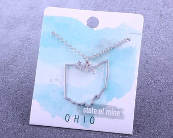 Customizable! State of Mine: Ohio LAX Silver Lacrosse Necklace - Great Lacrosse Gift!