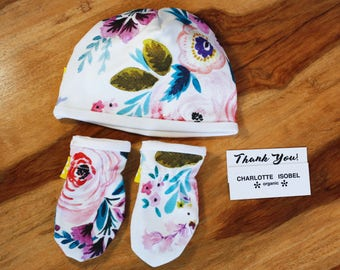 Floral Organic Baby Gift Set with Pretty Flowers New Baby Hospital Set Hat and Mittens a Perfect Baby Shower Gift for a Baby Girl