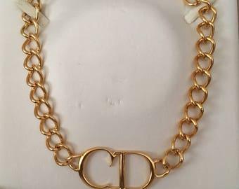 Christian Dior CD logo necklace