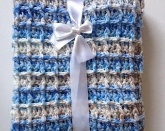 Blue baby blanket - crochet afghan - crocheted throw - light weight laprug - blue crochet throw