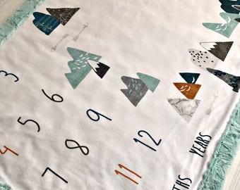 All Minky Milestone Baby Blanket Adventure Year Month Day