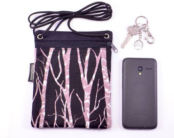 Crossbody phone bag. Black with birch tree trunks cell phone pouch