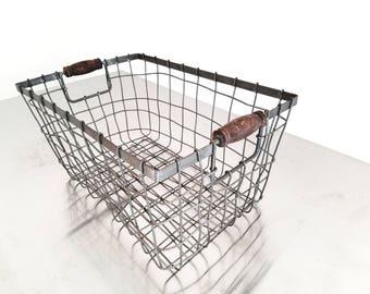 Industrial Metal Basket with Wooden Handles - Garden Basket