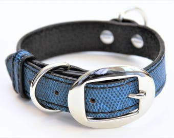 Dog Collar Genuine Lizard Blue/Black