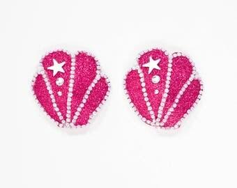 Pink Glitter Shell Pasties, Pink Shell Nipple Covers, Pink Mermaid Burlesque Pasties, Pink Mermaid Pasties, Pink Glitter Mermaid