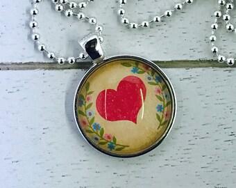 Folk Heart - Glass Pendant Necklace