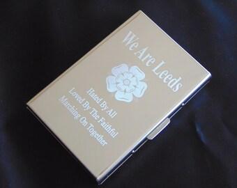 Leeds United -  Mirror Stainless Steel Card Holder Wallet - RFID Safe