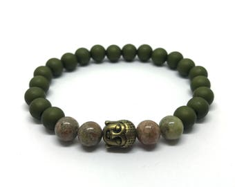 Army Green 8 mm Beads Bracelet with gem and buddha
