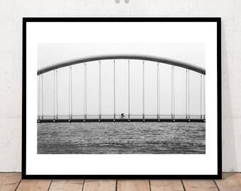 Bridge Print, Black and White, Bikecycle Photography , Back and White Print, Bicycle Wall Art, Modern Photography, Minimalist, Bicycle, BW