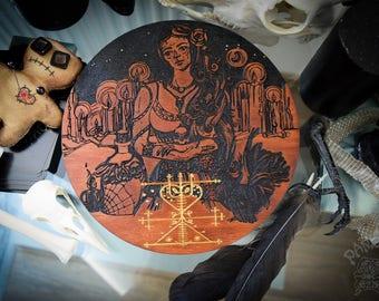 Altar pentacle - Maman Brigitte, Veve, Voodoo, Engraving and Hand painted