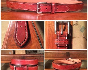1.25 Inch, Hand Stitched, Heavy Weight English Bridle Belt