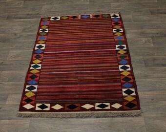 Excellent Original Gabbeh Ghashghaie Persian Area Rug Oriental Carpet 3'8X5'6