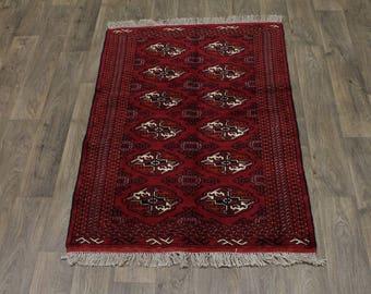 Great Shape Handmade Small Turkoman Ghoochan Persia Area Rug Oriental Carpet 3X5