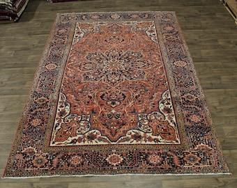 Geometric Pattern Thick Pile Goravan Heriz Persian Rug Oriental Area Carpet 8X12