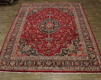 Lovely Hand Knotted Signed Plush Mashad Persian Rug Oriental Area Carpet 10X13