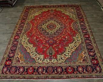 Charming Rare Design Handmade Tabriz Persian Wool Rug Oriental Area Carpet 10X13