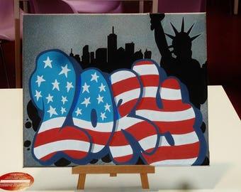 custom name graffiti new york city flag canvas