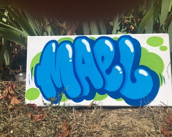 personalised table name graffiti canvas