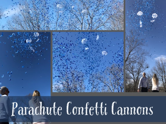 "24"" PARACHUTE & CONFETTI CANNONS Gender Reveal Parachute Cannons and Confetti Cannons! *New* Gender Reveal Idea! Ships Same Day!"