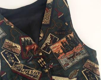 Grandma's Fisher Vest // Retro Vest // Hand Sewn Vest // 90's Vintage Vest // 80's Vintage Vest // Crafted Vest // Upcycled Vintage Clothing