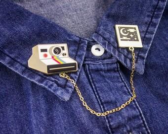 Sweet Dreams Polaroid Collar Pins // Hard Enamel Lapel Pins with Chain