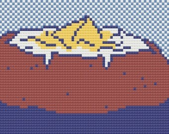 Baked Potato Cross Stitch Pattern - PDF Instant Download
