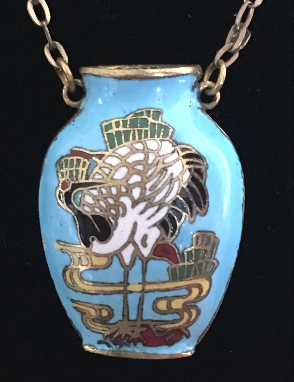 Vintage cloisonn vase necklace enamel and brass vase pendant on vintage cloisonn vase necklace enamel and brass vase pendant on long chain enamel miniature reviewsmspy