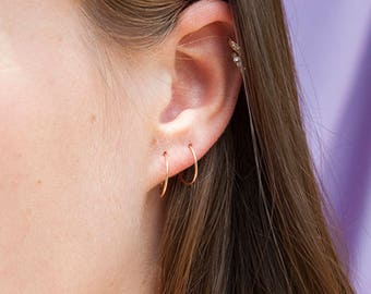 Tiny 9ct Rose Gold hoops - tiny hoops - thin hoops - 9ct rose gold - hoops - gold hoop earrings - gold hoops - cartilage hoops - TP6507-6509