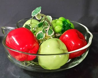Large apple shaped bowl. Clear glass