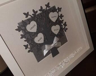 Family Tree Personalised Frame - Handmade - Family Frame - Family Tree - Deep Square White Frame