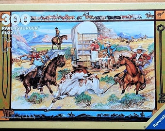 Puzzle by Ravensburger 1992 Cowboys Made in Germany Grained Paper No Glare Strong Pieces No Breakage Not to be Used by Children Under 3