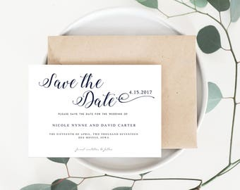 Calligraphy Wedding Save the Date, Black and White Save the Date, Classic Script Save the Date, Classic Save the Date