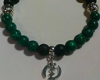 Gemstone 'Gye Nyame' Symbol Stretch Bracelet, charm bracelet, beaded, men's, women's, Adinkra, African, Jewelry, afrocentric, Malachite