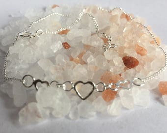 Delicate Heart anklet/heart Jewellery /anklet/Sterling silver anklet/Sterling silver heart/heat anklet/silver anklet/silver heart anklet