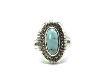 Native American Navajo Handmade Dry Creek Turquoise Sterling Silver Ring Size 8