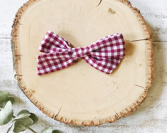 Cranberry Gingham Bow - School Girl Bows - Baby Bow - Toddler Clip - Baby Headband - Handmade Bow- Pigtail Set- Holiday Bow- Christmas Bow