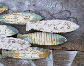 Fish Wall Decor/  Coastal Decor/  Metal Fish Decor/ Beach House Wall Art/ Galvanized Metal Wall Art/ Fish Wall Art / Nautical Wall art