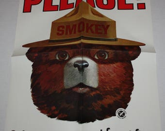 Smokey Bear PLEASE! Only You Can Prevent Forest Fires Promotional Folded Poster 1964
