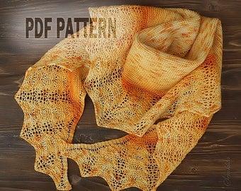 PDF Knitting pattern semi-circular shawl, oversized lace shawl