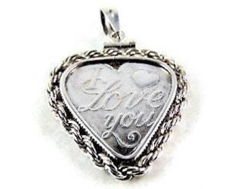 Sale!. 999 pure silver I LOVE YOU heart pendant!