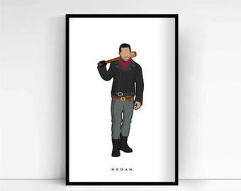 The Walking Dead - Negan 'Minimalist' A4 Print