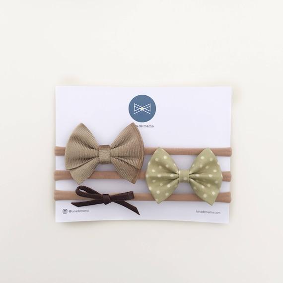 Bow set   boho chic vintage style hair bows   neutral hair bows   everyday hair bows   mini hair bows