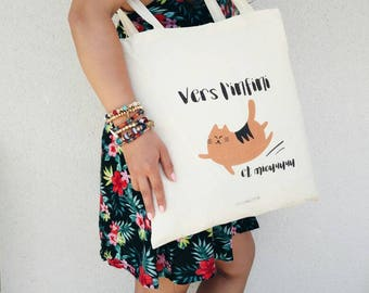 Cotton Tote Bag to infinity and Miou red cat bag, grocery bag, tote bag.