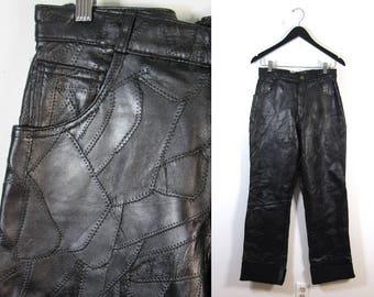 Genuine Leather Patchwork Pants : Women's Medium