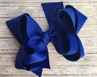 Double stacked hair bows, double layer hair bows, blue double stacked hair bows, girls hair bows, 5 inch hair bows,royal blue hair bows