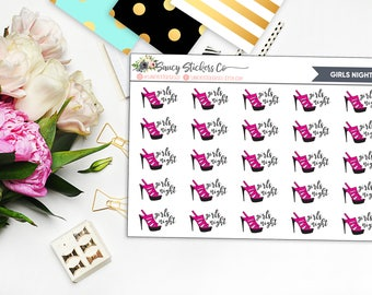 Girls Night Planner Stickers | for use with Erin Condren Lifeplanner™, Filofax, Personal, A5, Happy Planner
