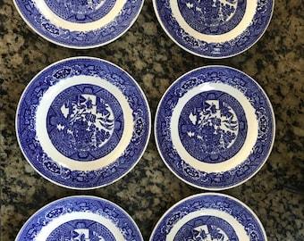 "Six (6) Blue Willow Royal Sebring Ohio 6"" plates"