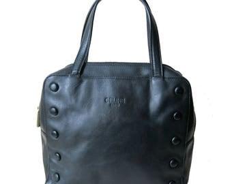 CELINE Paris vintage 1990 lambskin black Luxury Leather handbag