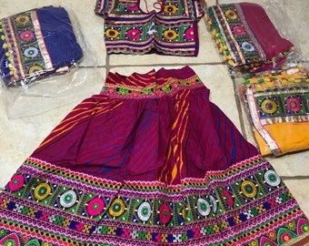 Kids Chaniya Choli/Readymade Laheriya  stitched/Garba Chaniya choli/ Navaratri Chaniya choli /with Blue Dupatta only/Lehenga Choli